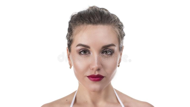 Beautiful Face of Young Woman with Clean Fresh Skin close up isolated on white. Beauty Portrait. Beautiful Spa Woman stock photo