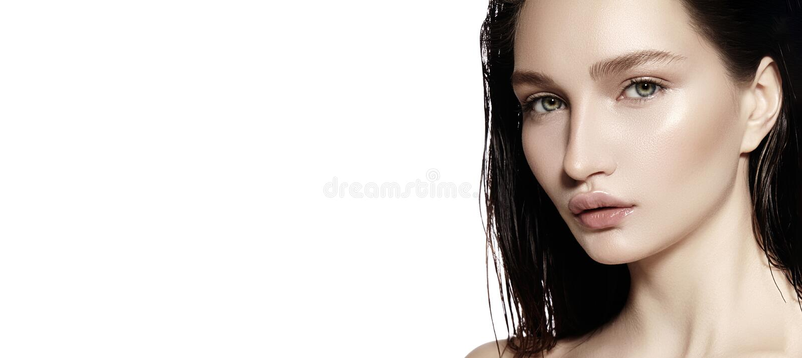 Beautiful Face of young Woman. Skincare, Wellness, Spa. Clean soft Skin, Fresh look. Natural daily makeup. Copyspace. Beautiful Face of young Woman. Skincare stock image