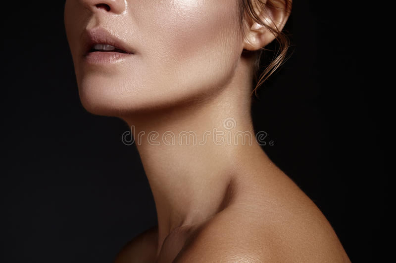 Beautiful face of young woman. Skincare, wellness, spa. Clean soft skin, healthy fresh look. Natural daily makeup royalty free stock image