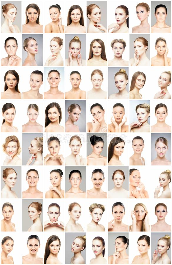 Beautiful faces of young and healthy women. Plastic surgery, skin care, cosmetics and face lifting concept. royalty free stock photos