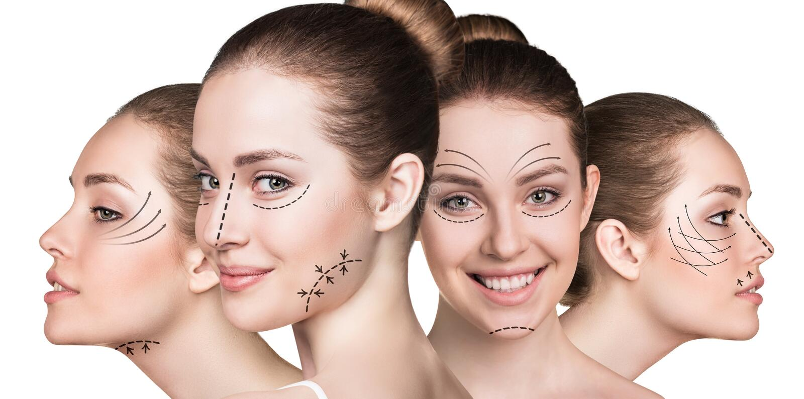 Beautiful faces of young woman. Anti aging treatment and plastic surgery concept. Beautiful faces of young woman with arrows isolated on white stock photo