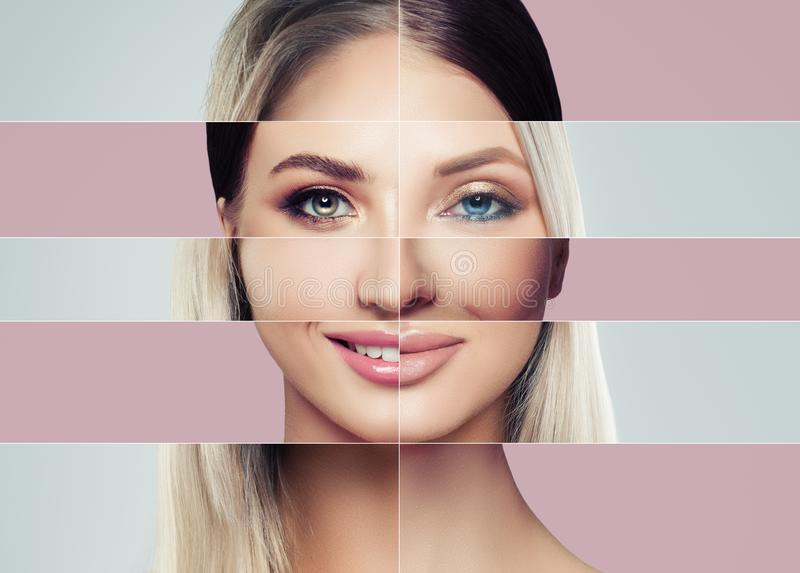 Beautiful faces of young woman. Plastic surgery concept stock photography