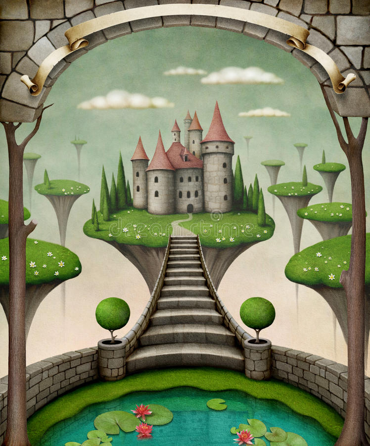 Fairytale castle. Beautiful fairy background or illustration with hanging meadows and castle. Computer graphics