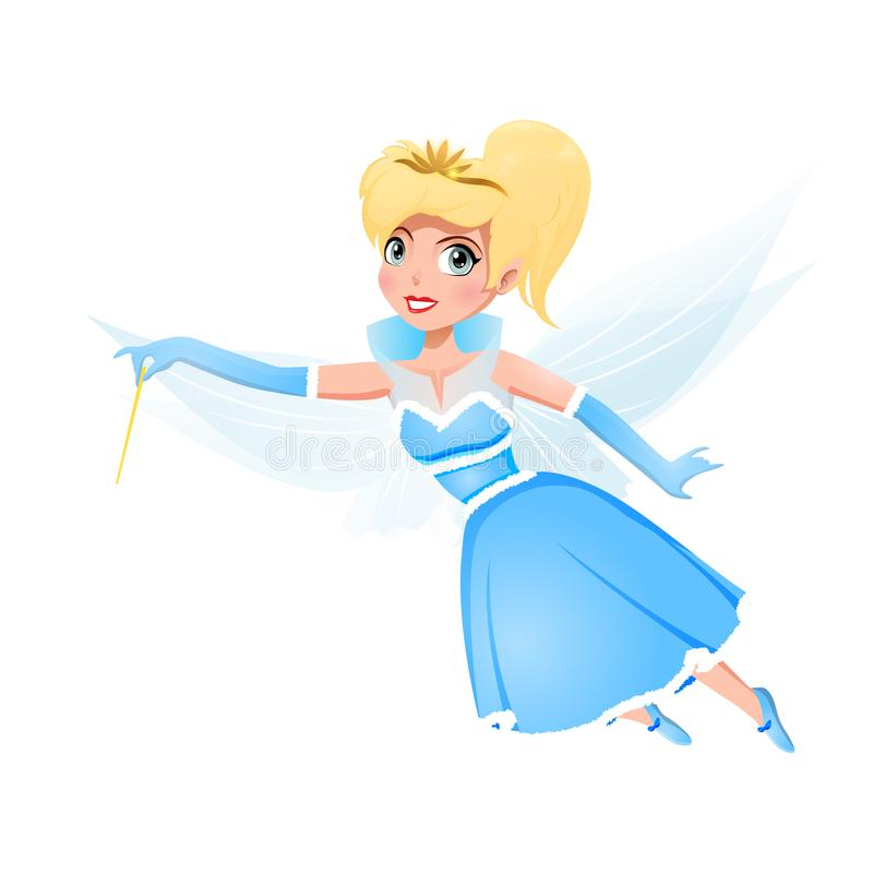 Beautiful Fairy. In blue dress with magic wand isolated on white background. Vector illustration vector illustration