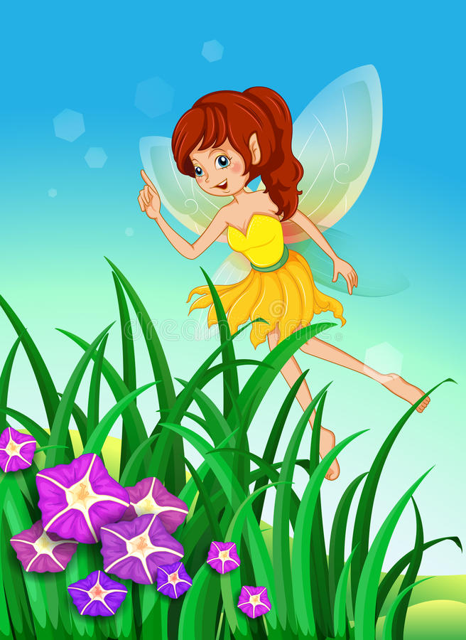 A beautiful fairy in the garden. Illustration of a beautiful fairy in the garden royalty free illustration