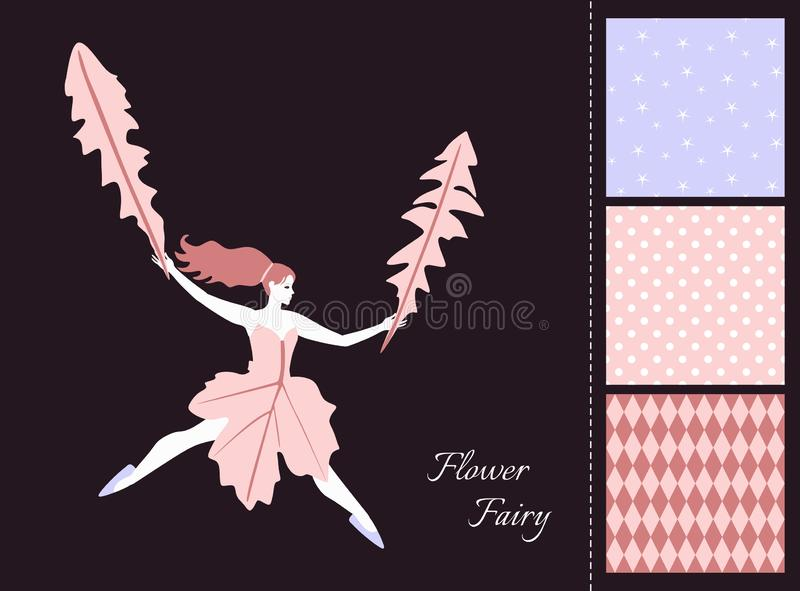 Beautiful fairy girl with leaves. Card and set of seamless patterns in tender colors. vector illustration
