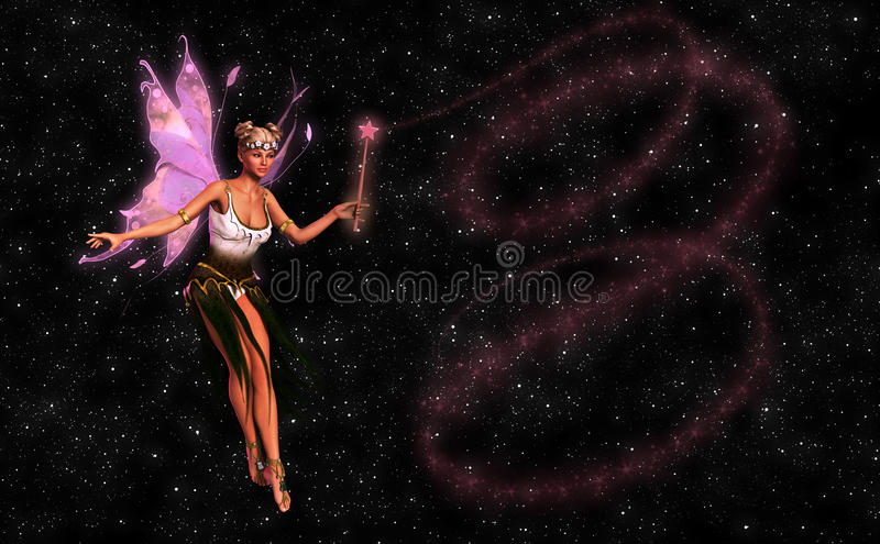 Beautiful Fairy With Magic Wand Illustration. An angelic fairy with a magic wand in a magical moment stock illustration