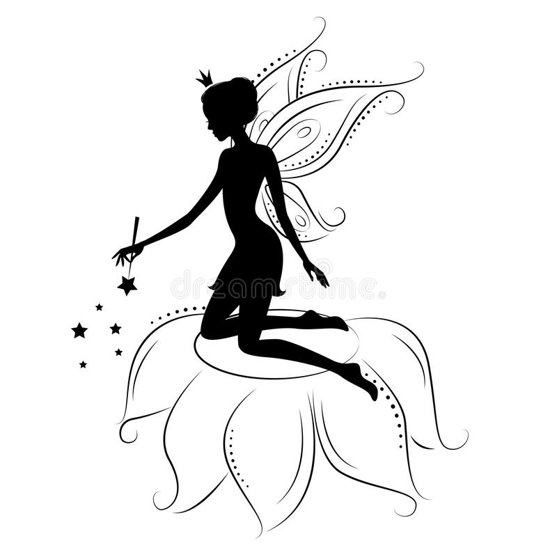 Beautiful fairy. Silhouette. She kneeling on the flower holding in hand the magic wand , illustration on a white background royalty free illustration
