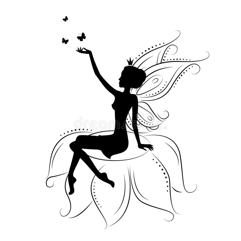 Beautiful fairy. Silhouette. She sitting on the flower , illustration on a white background vector illustration