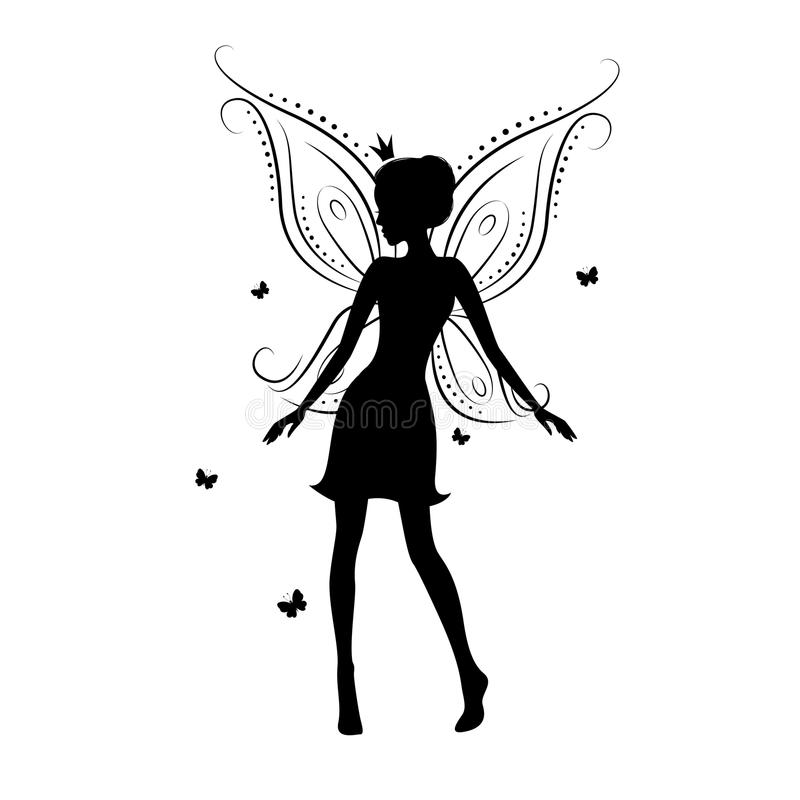 Beautiful fairy. Silhouette on a white background vector illustration