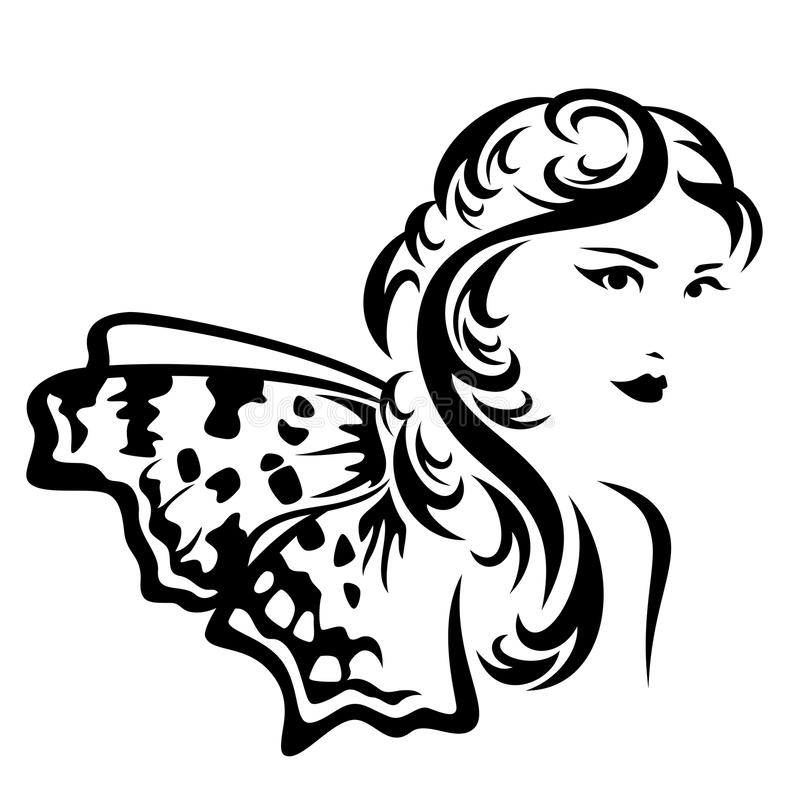 Free Beautiful Fairy Tale Woman With Butterfly Wings Vector Portrait Stock Image - 86364441
