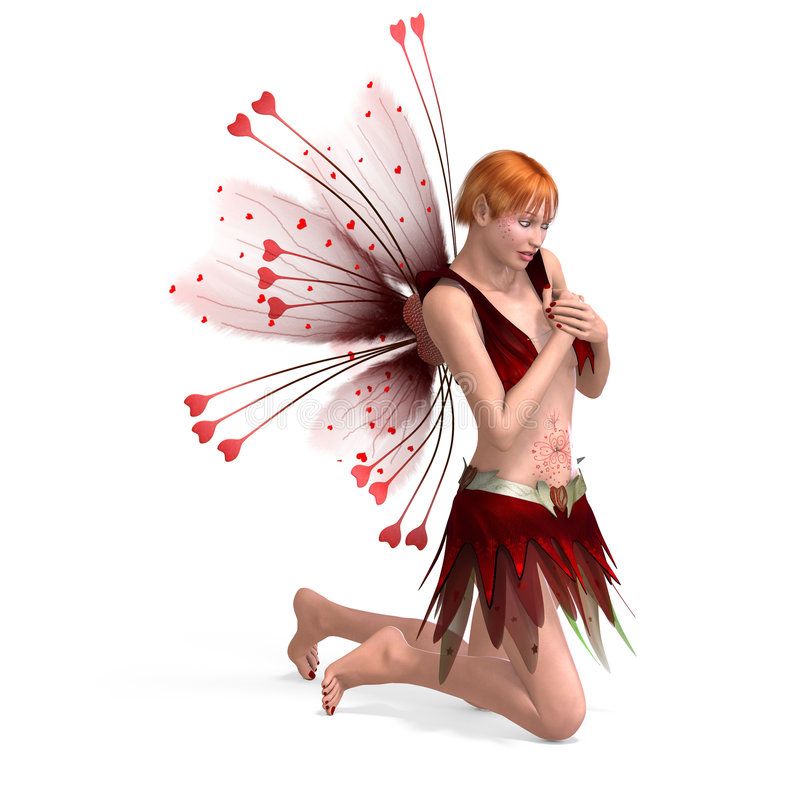 Beautiful Fairy with Wings. Young fearie with faethery wings and clipping path over white vector illustration