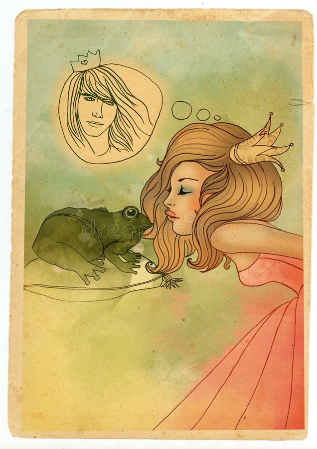 Beautiful fairytale Princess kissing a frog stock illustration