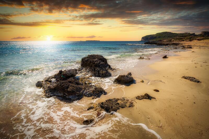 Beautiful Falassarna beach on Crete at sunset, Greece royalty free stock image