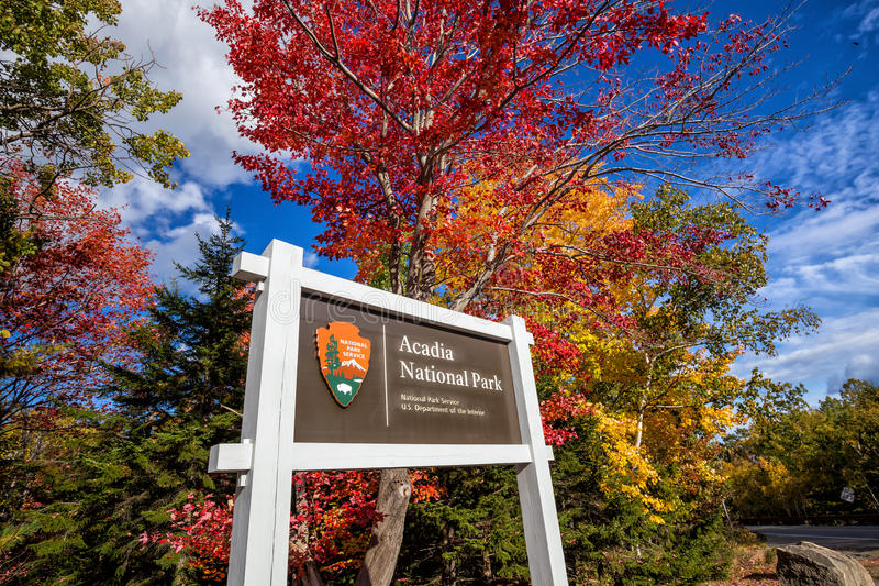 Beautiful fall colors of Acadia National Park in Maine stock photography