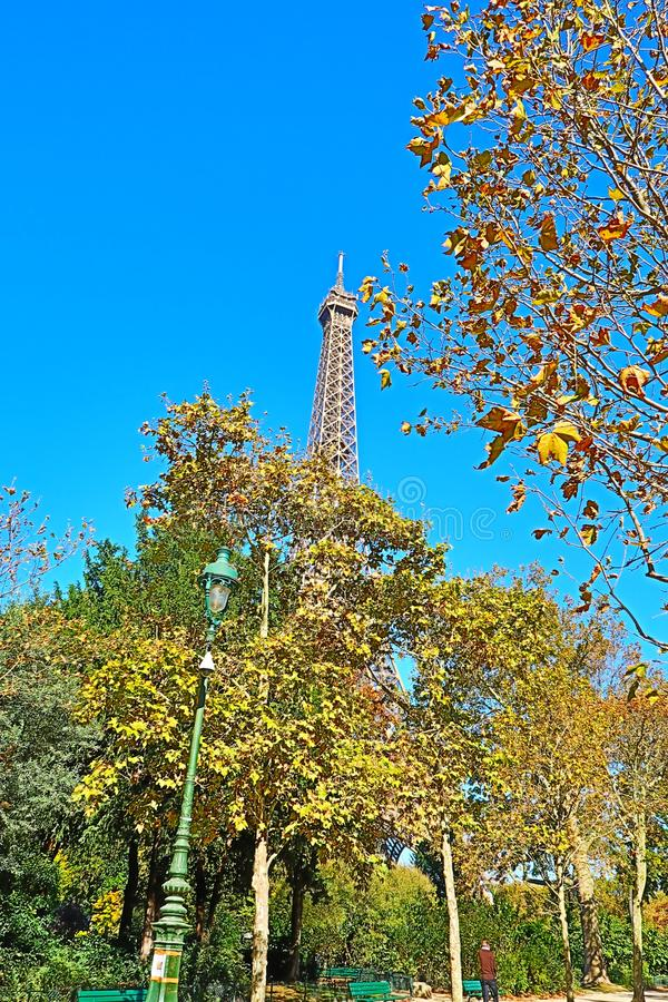 Amazing Fall day Paris France Eiffel Tower royalty free stock images