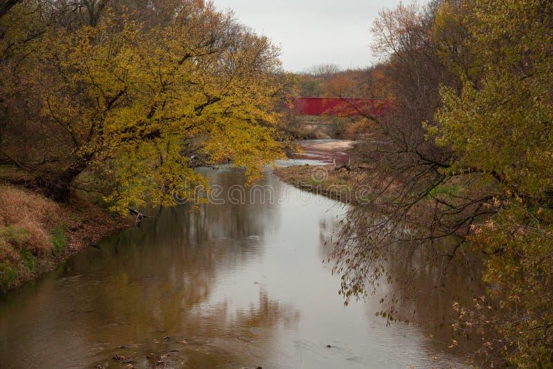 Bridges of Madison County covered bridge on the river stock image