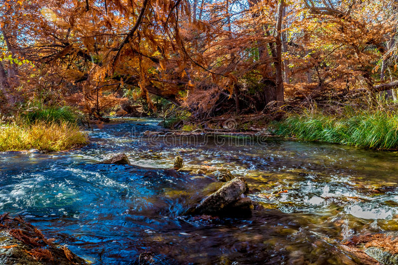 Beautiful Fall Foliage on the Guadalupe River, Texas. Autumn Landscape of the Beautiful Fall Foliage Surrounding the Swift Flowing Guadalupe River, Texas stock photography