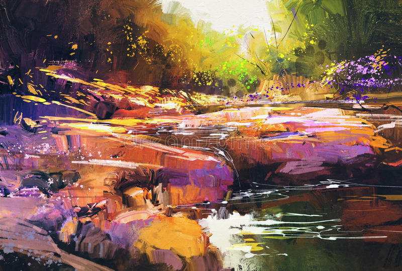 Beautiful fall river lines with colorful stones in autumn forest stock illustration