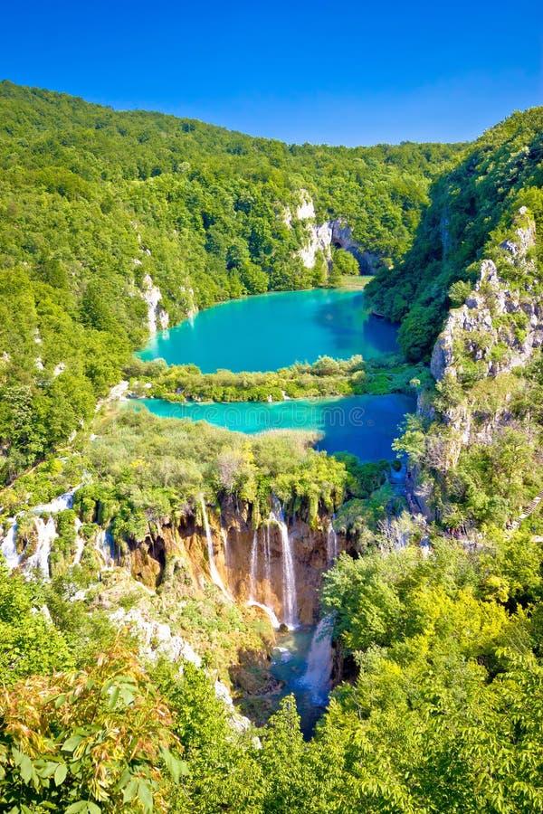 Beautiful falling lakes of Plitvice national park. Vertical view, Croatia royalty free stock photos