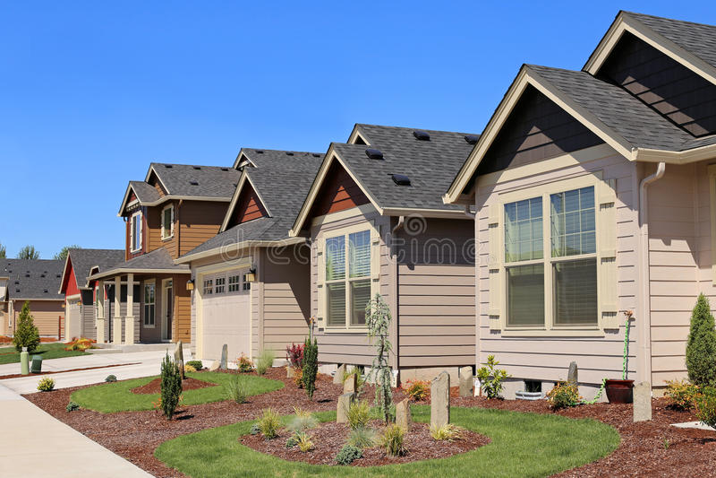 Beautiful Family Homes. In Suburban Neighborhood stock photography
