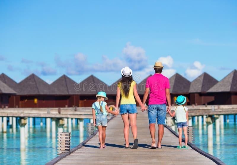 Beautiful family on summer vacation stock photo