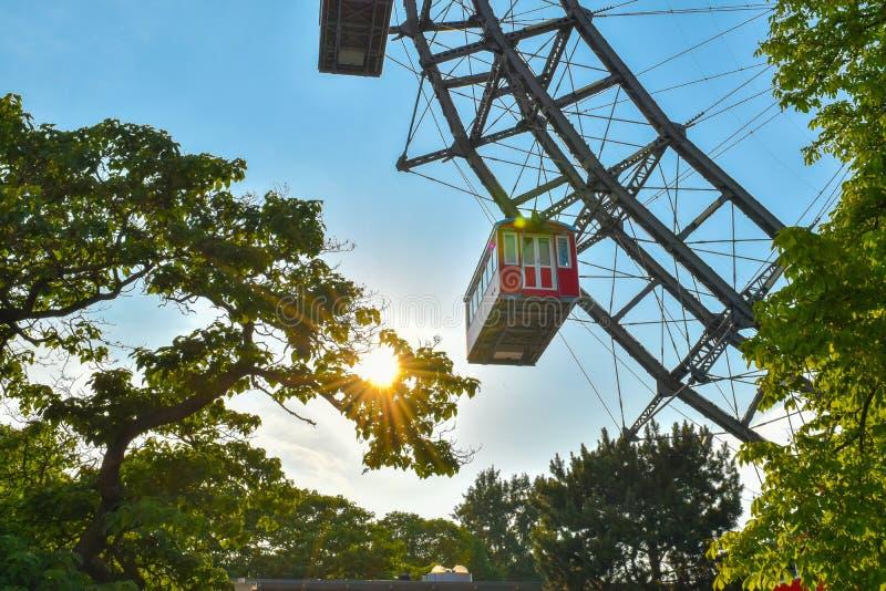 Ferris wheel in Vienna - Wiener Riesenrad. The beautiful and famous ferris wheel in Vienna, Austria. Wiener Riesenrad. It is one of Vienna`s most popular tourist stock photos