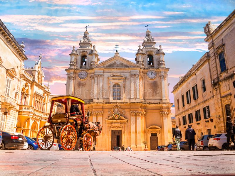 Saint Poul Cathedral in Malta. Beautiful famous Saint Poul Cathedral in Mdina village of Malta, Europe stock photography