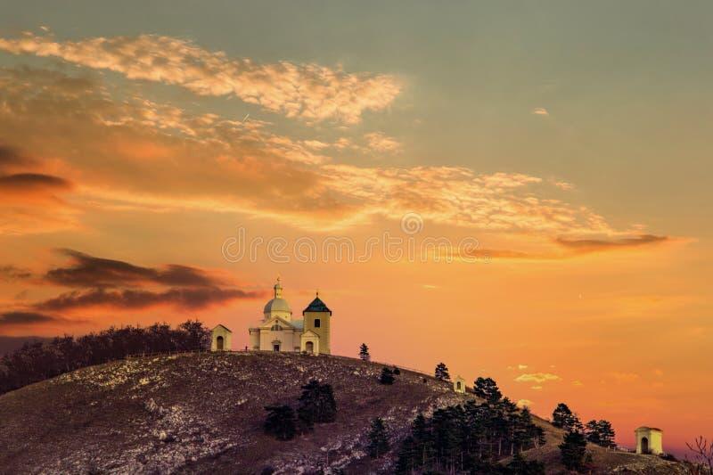Beautiful and famous St. Sebastian`s chapel Svaty Kopecek - in czech on a sunset. Mikulov, South Moravian region. Czech Republi stock photography