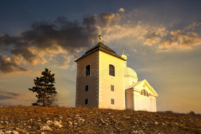 Beautiful and famous St. Sebastian`s chapel Svaty Kopecek - in czech on a sunset. Mikulov, South Moravian region. Czech Republi royalty free stock photo