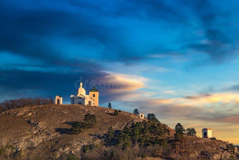 Beautiful and famous St. Sebastian`s chapel svaty kopecek, Mikulov city, South Moravian region. Czech Republic stock images