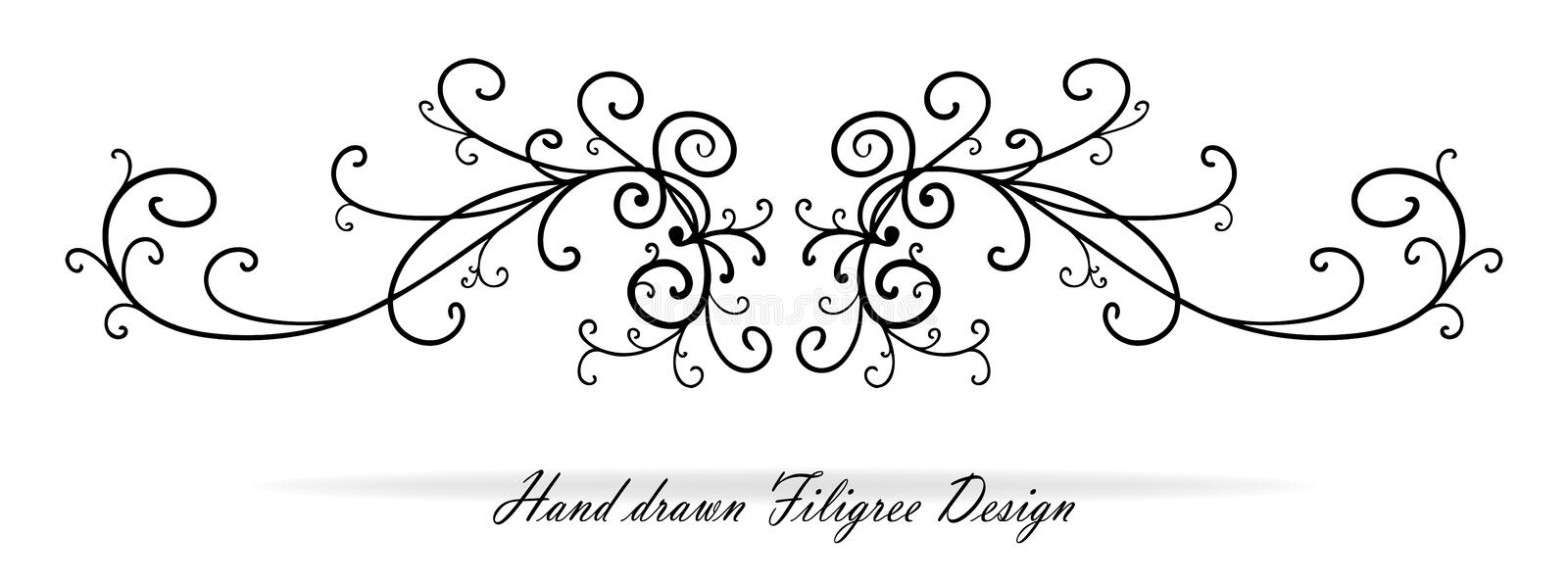 Beautiful fancy scroll design, paragraph or text underline, wedding design element. Paragraph or text divider or other fancy scroll work flourishes, reflected stock illustration
