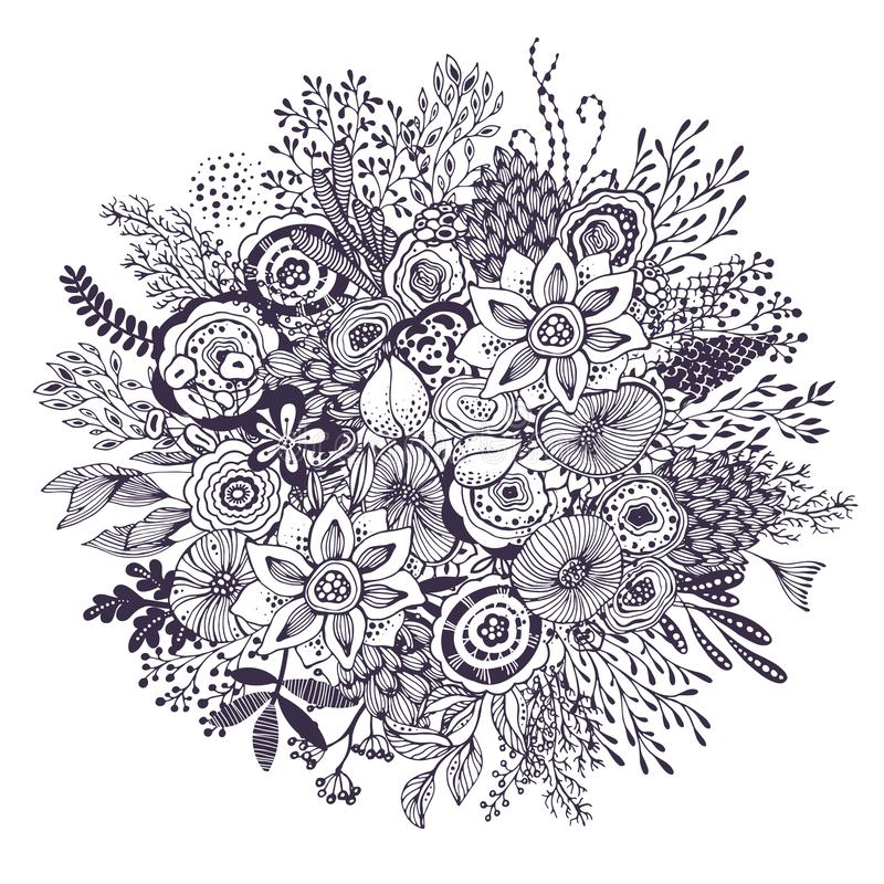 Beautiful fantasy bouquet with hand drawn flowers, plants, branches. royalty free illustration