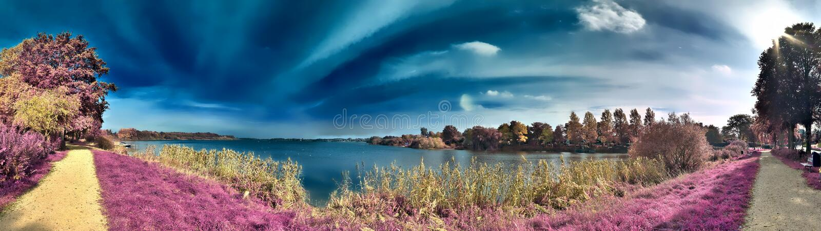 Beautiful fantasy infrared landscape with trees in a forest and fields and lots of purple elements and a deep blue sky. Beautiful fantasy infrared landscape with royalty free stock images