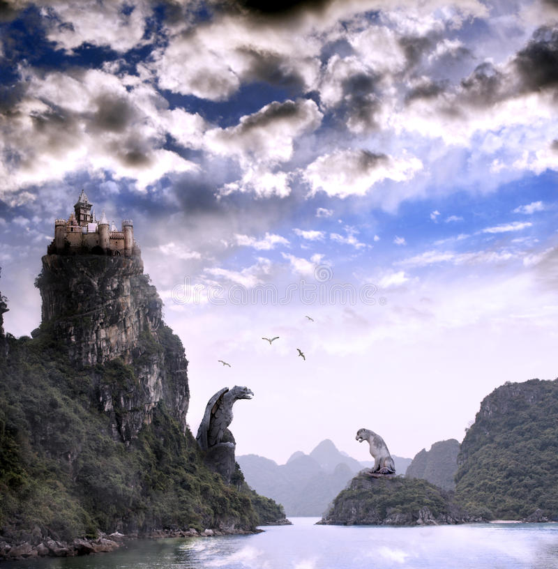 Beautiful fantasy landscape with old castle royalty free stock photos