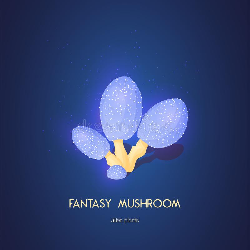 Beautiful fantasy mushroom. Magic unusual nature elements isolated on white background. Vector illustration for stock illustration