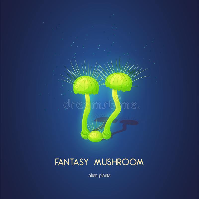 Beautiful fantasy mushroom. Magic unusual nature elements isolated on white background. Vector illustration for. Beautiful fantasy mushroom. Magic unusual nature stock illustration