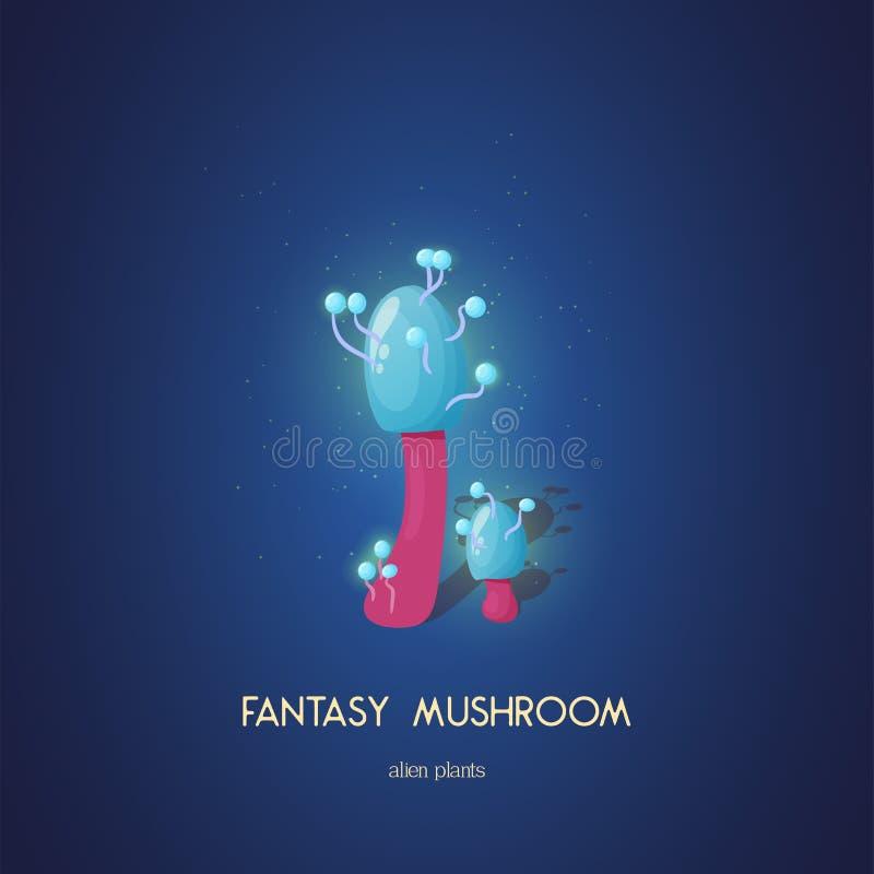 Beautiful fantasy mushroom. Magic unusual nature elements isolated on white background. Vector illustration for. Beautiful fantasy mushroom. Magic unusual nature vector illustration