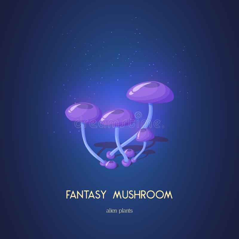 Beautiful fantasy mushroom. Magic unusual nature elements on white background. Vector illustration for. Beautiful fantasy mushroom. Magic unusual nature elements stock illustration