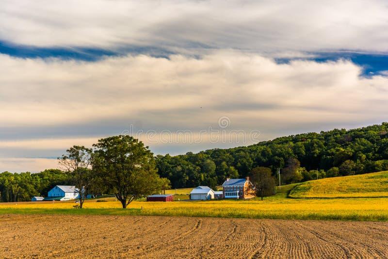 Beautiful farm scene in rural York County, Pennsylvania. stock photos