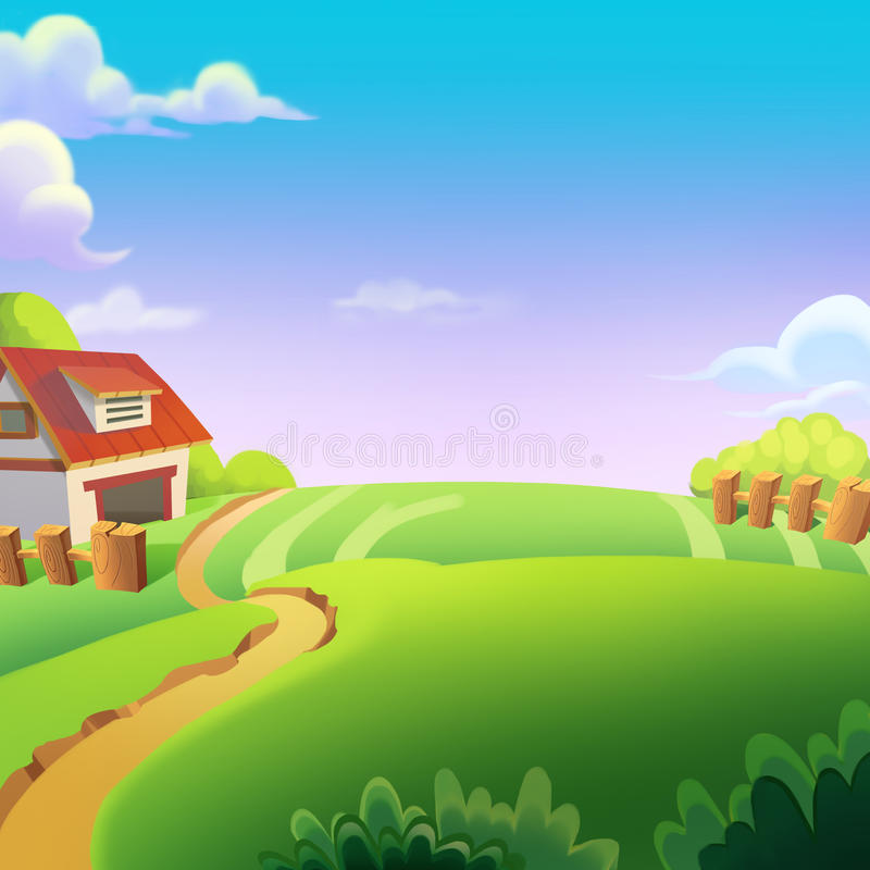 Beautiful Farm on the Sunny Day under the Green Hill. Video Game's Digital CG Artwork, Concept Illustration, Realistic Cartoon Style Background royalty free illustration