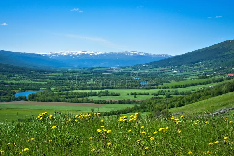 Beautiful farm valley landscape with a flowing river and snow capped mountains stock photo