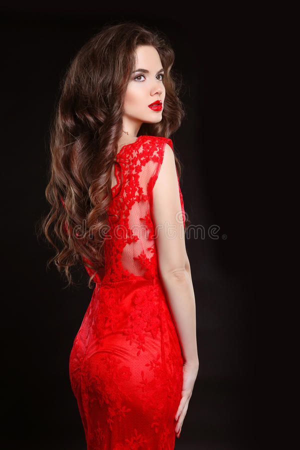 Beautiful Fashion Elegant Woman In Red Dress Isolated On Black B Stock Photo Image Of Back