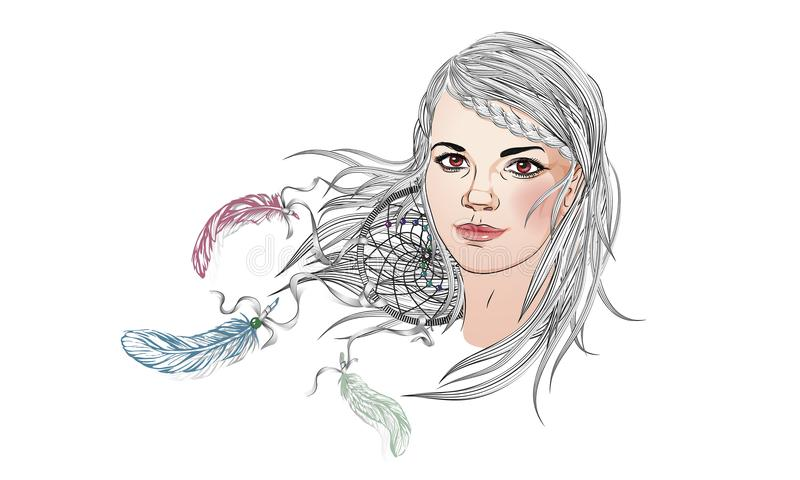 Beautiful fashion girl with abstract hair. Coloring book for adults. Vector illustration. Girl face with loose hair and abstract stock illustration