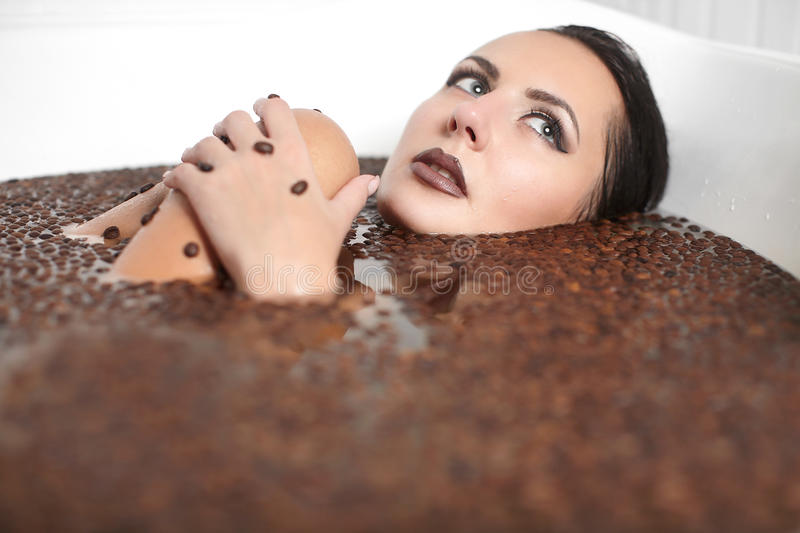 Download Beautiful Fashion Girl In Jacuzzi With Coffee Stock Image - Image of massage, brown: 23591719