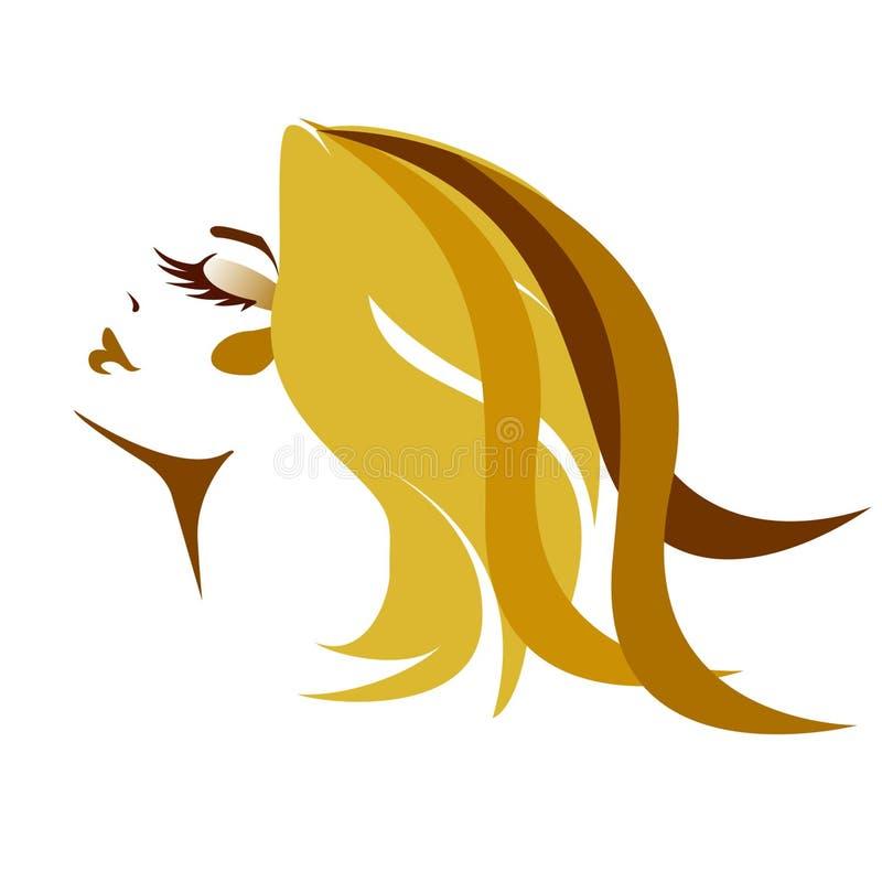 Long hair style icon, logo women face. stock illustration
