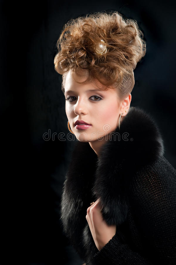 Beautiful Fashion Girl With Makeup And Coiffure Stock Image