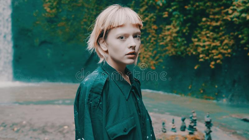 Girl in tropical rain forest jungle stock images