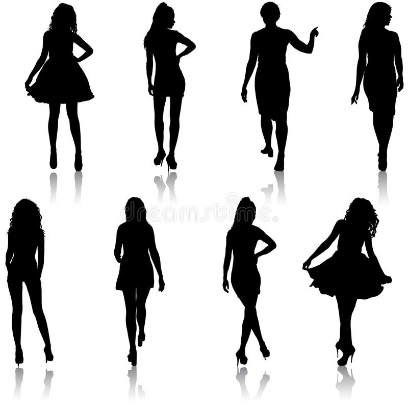 Beautiful fashion girl silhouette on a white background royalty free stock photography