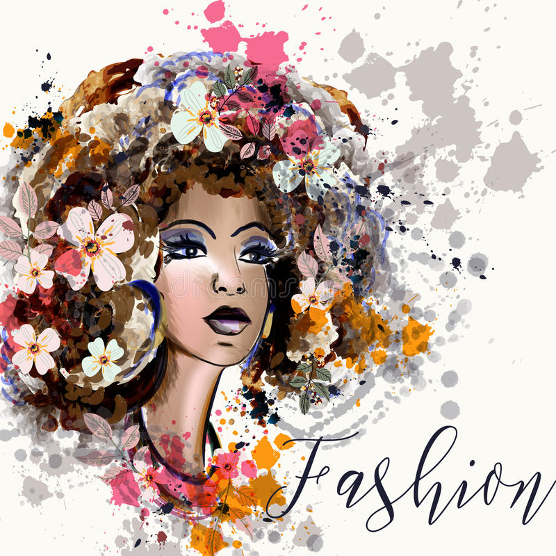 Beautiful fashion illustration in watercolor style with portrait vector illustration